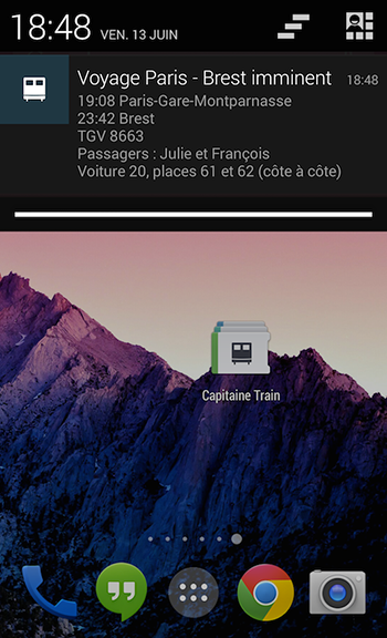 Notification de l'application Capitaine Train