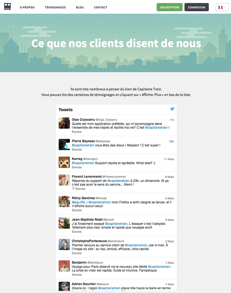 Page ''Ce que nos clients disent de nous'' de Capitaine Train