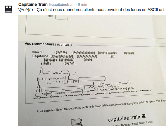 Un client de Capitaine Train a mis en forme un train à vapeur avec les caractères typographiques