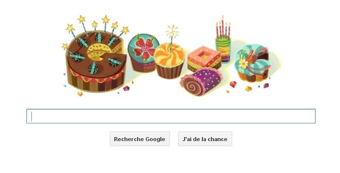 Google composé de gâteaux d'anniversaires