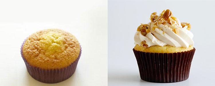 Image de 2 cupcakes l'un avec et l'autre sans glaçage