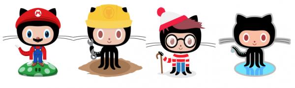 La mascotte de Github se costume en Mario, Charlie, Bricoleur...